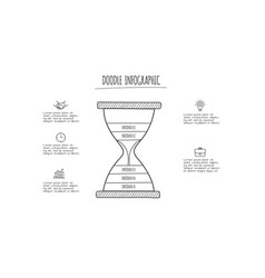 doodle hourglass infographic elements with 5 vector image