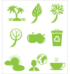 ecology protection themed green flat icons set vector image