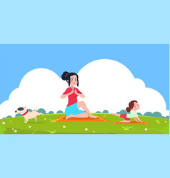 family yoga girl outdoor stretching exercise vector image