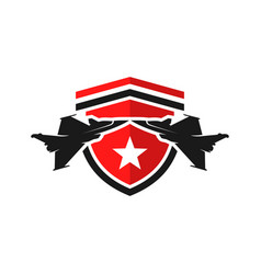 Fighter aircraft shield logo vector