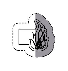 Figure emblem sticker fire icon vector