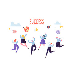 Flat business people celebrating success vector