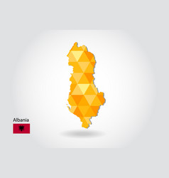 geometric polygonal style map of albania low poly vector image