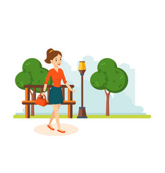 Girl in skirt and blouse walks in park resting vector