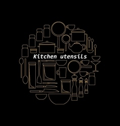 Gold mono line kitchen utensils logo vector image