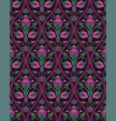 Green and lilac floral pattern vector