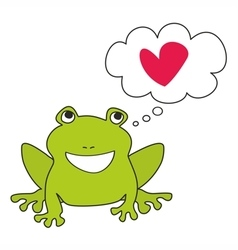 Green frog dreaming about love vector image