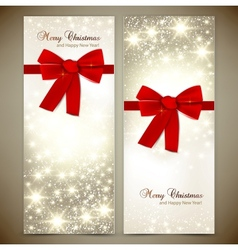 Greeting cards with red bows and copy space vector image