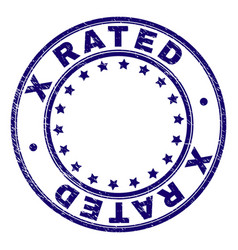 Grunge textured x rated round stamp seal vector
