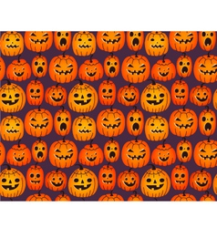 Halloween background with funny pumpkins vector image