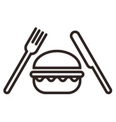 hamburger fork and knife vector image