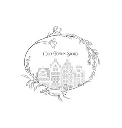 Hand drawn line art old houses in frame vector