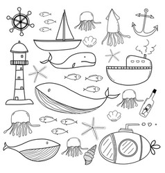 hand drawn sea doodles set vector image