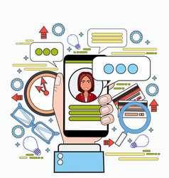 hands holding smart phone chatting messaging in vector image