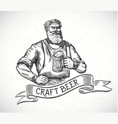 happy brewer or craftsmans characters holding a vector image