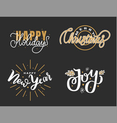 happy holidays merry christmas joy lettering text vector image