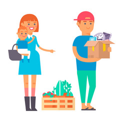 happy young couple flat people moving in vector image