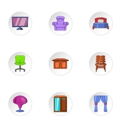 Home furnishings icons set cartoon style vector