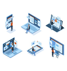 isometric characters use technology gadgets vector image