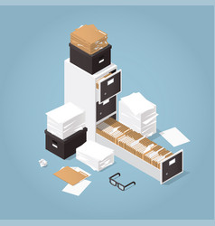 Isometric concept folder archive vector