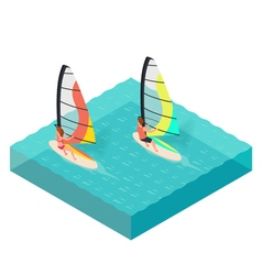Isometric of windsurfers Man and woman on vacation vector