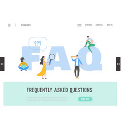 landing page frequently asked questions concept vector image