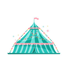 Large blue striped circus tent decorated with vector