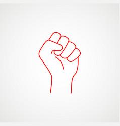 Linear icon fist rebellion minimalist vector