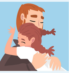 Little girl hugs dad with love vector