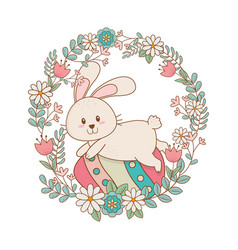 Little rabbit with egg painted and flowers vector