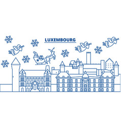 luxembourg winter city skyline merry christmas vector image