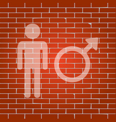 Male sign whitish icon on vector