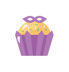 Mardi gras cupcake with mask vector