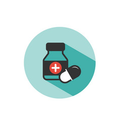 Medicine bottle and pills color icon with shade vector