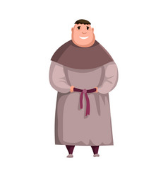 medieval kingdom character isolated monk in vector image