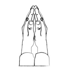 Monochrome sketch of hands in position of pray in vector