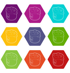 Multi cooker icons set 9 vector