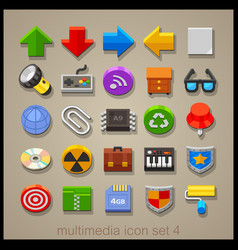 multimedia icon set-4 vector image