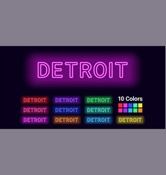 Neon name of detroit city vector