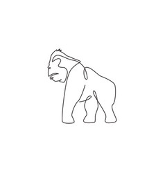 one continuous line drawing gorilla for vector image