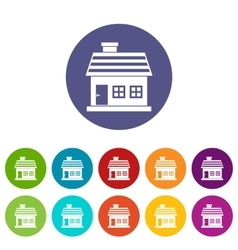 One-storey house set icons vector