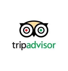 Owl logo web icon - portal with hotel vector