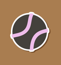 Paper sticker on stylish background dog toy ball vector