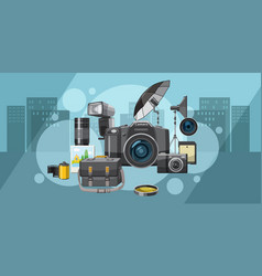 photo studio banner horizontal city cartoon style vector image