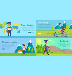 post service cartoon web banners set vector image