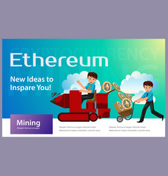 production of ethereum crypto currency flat poster vector image