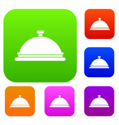restaurant cloche set collection vector image
