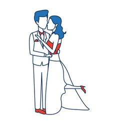romantic couple wedding woman and man kissing vector image