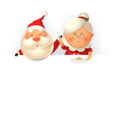 santa claus and his wife mrs claus on top board vector image