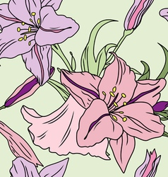seamless lily pattern vector image
